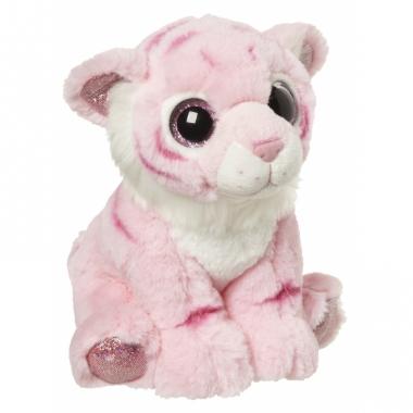 Tijger knuffeltje roze 18 cm