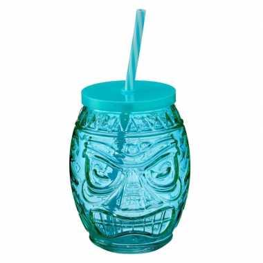 Tiki glazen drinkpotje/drinkglas met deksel 550 ml blauw