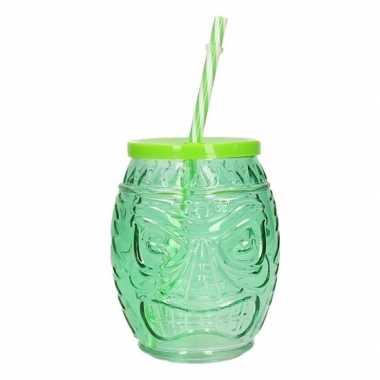 Tiki glazen drinkpotje/drinkglas met deksel 550 ml groen
