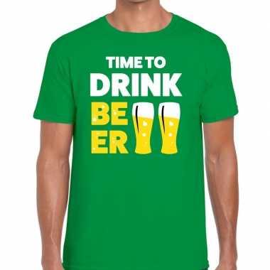 Time to drink beer tekst t-shirt groen heren