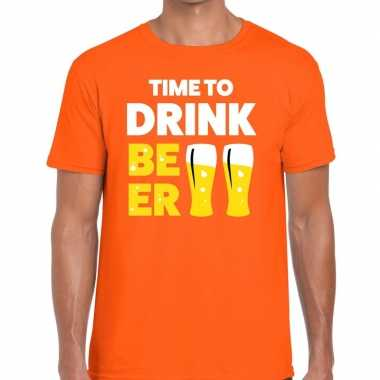 Time to drink beer tekst t-shirt oranje heren