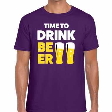 Time to drink beer tekst t-shirt paars heren