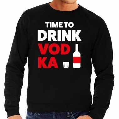 Time to drink vodka tekst sweater zwart voor heren