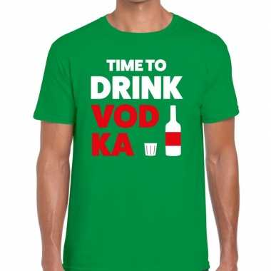 Time to drink vodka tekst t-shirt groen heren