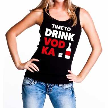 Time to drink vodka tekst tanktop / mouwloos shirt zwart dames