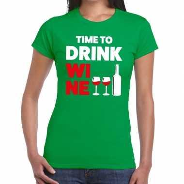 Time to drink wine tekst t-shirt groen dames