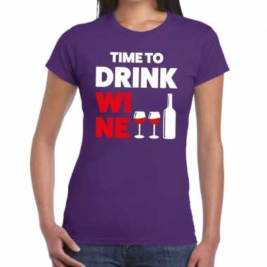 Time to drink wine tekst t-shirt paars dames