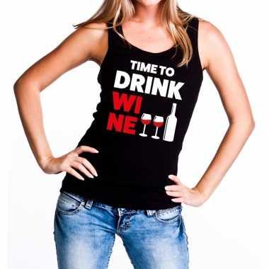 Time to drink wine tekst tanktop / mouwloos shirt zwart dames