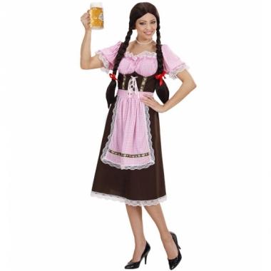 Tiroler jurk bruin met roze