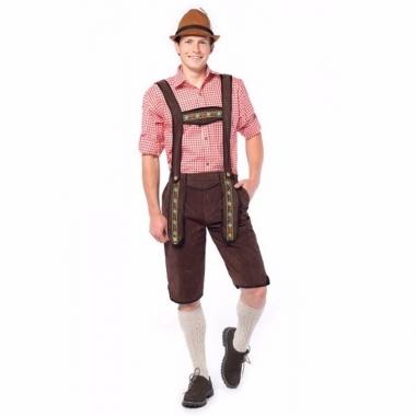 Tiroler lederhosen overknee donkerbruin voor mannen