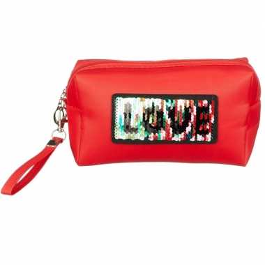 Toilettas/make-up etui love rood 21 cm