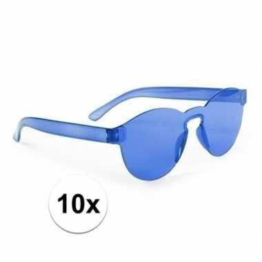 Toppers - 10x blauwe verkleed zonnebrillen voor volwassenen