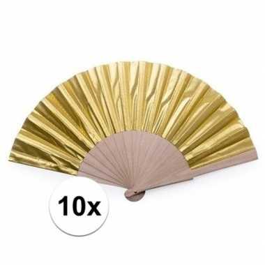 Toppers - 10x gouden spaanse handwaaiers 42 cm