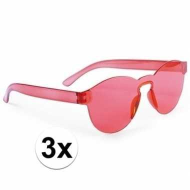 Toppers - 3x rode verkleed zonnebrillen voor volwassenen