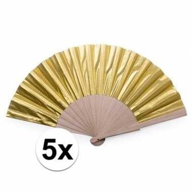 Toppers - 5x gouden spaanse handwaaiers 42 cm