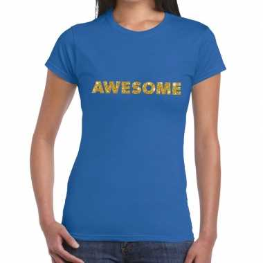 Toppers - awesome goud glitter tekst t-shirt blauw dames