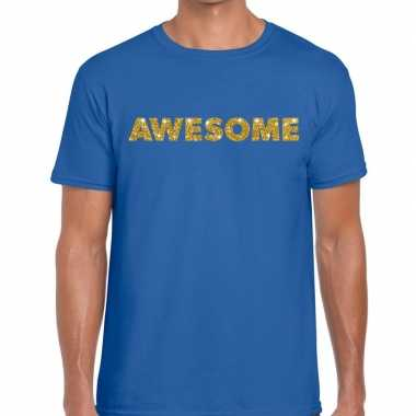 Toppers - awesome goud glitter tekst t-shirt blauw heren