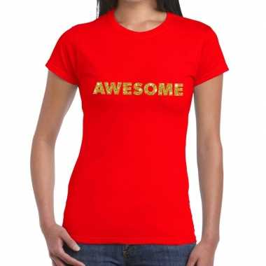 Toppers - awesome goud glitter tekst t-shirt rood dames