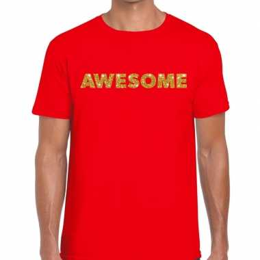 Toppers - awesome goud glitter tekst t-shirt rood heren