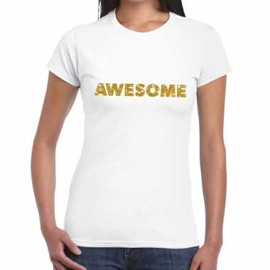 Toppers - awesome goud glitter tekst t-shirt wit dames