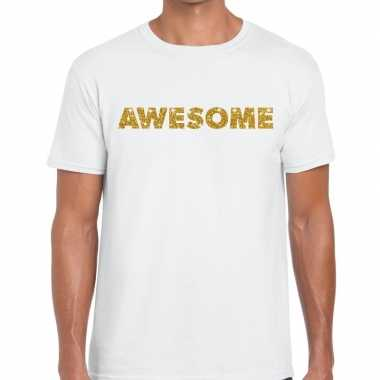 Toppers - awesome goud glitter tekst t-shirt wit heren