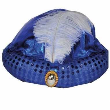 Toppers - blauw arabisch sultan hoedje met diamant en veer