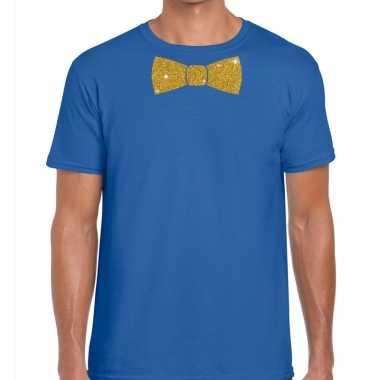 Toppers - blauw fun t-shirt met vlinderdas in glitter goud heren