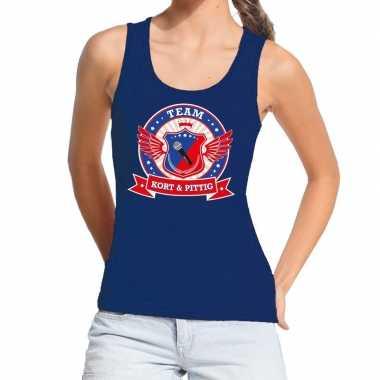 Toppers - blauw kort en pittig team tanktop / mouwloos shirt dame
