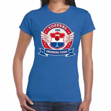 Toppers - blauw toppers drinking team t-shirt dames