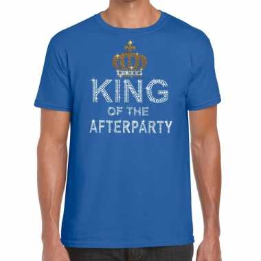 Toppers - blauw toppers king of the afterparty glitter t-shirt heren
