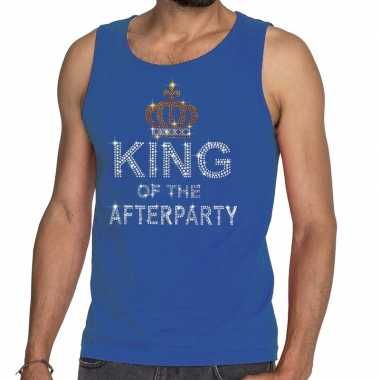 Toppers - blauw toppers king of the afterparty glitter tanktop shirt