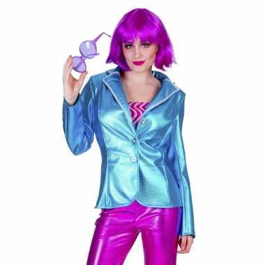 Toppers - blauwe disco seventies verkleed colbert/jasje voor dames