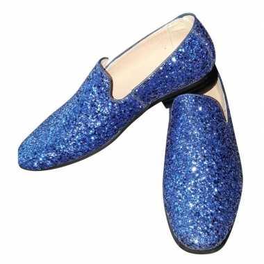 Toppers - blauwe glitter disco instap schoenen voor heren