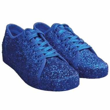 Toppers - blauwe glitter disco sneakers/schoenen voor dames
