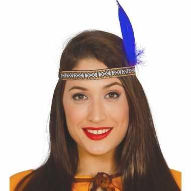 Toppers - blauwe indianen veer verkleed accessoire