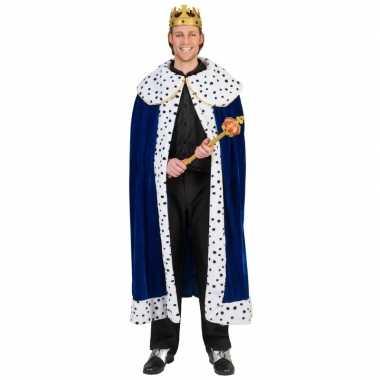 Toppers - blauwe koning cape/mantel voor volwassenen
