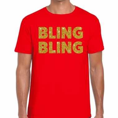 Toppers - bling bling glitter tekst t-shirt rood heren