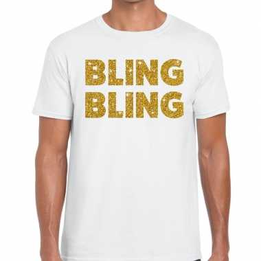 Toppers - bling bling glitter tekst t-shirt wit heren
