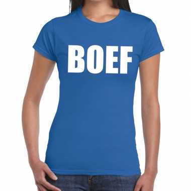 Toppers - boef tekst t-shirt blauw dames