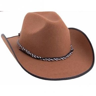 Toppers bruine cowboyhoeden met koord