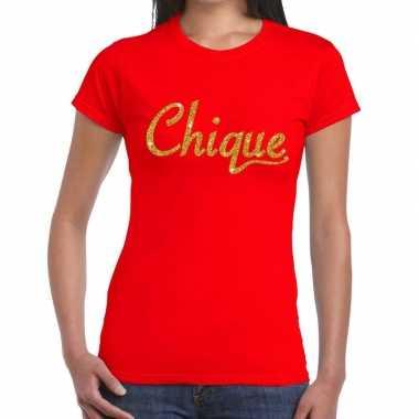 Toppers - chique goud glitter tekst t-shirt rood dames