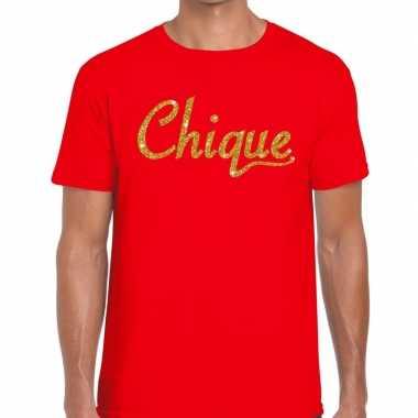 Toppers - chique goud glitter tekst t-shirt rood heren