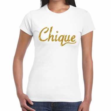 Toppers - chique goud glitter tekst t-shirt wit dames