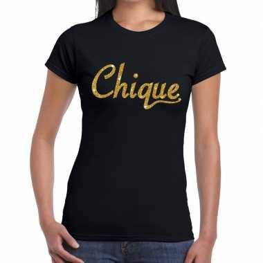 Toppers - chique goud glitter tekst t-shirt zwart dames