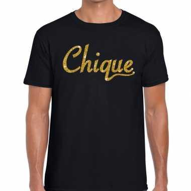Toppers - chique goud glitter tekst t-shirt zwart heren