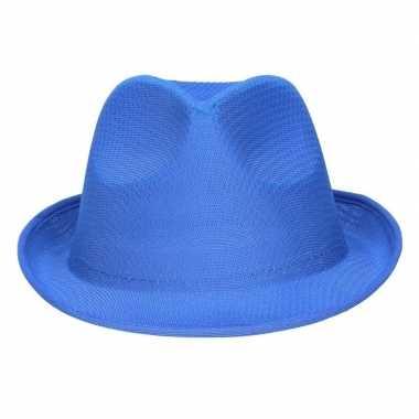 Toppers - feest/verkleed toppers trilby hoedje/gleufhoed blauw
