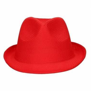 Toppers - feest/verkleed toppers trilby hoedje/gleufhoed rood