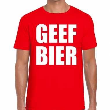 Toppers - geef bier heren t-shirt rood