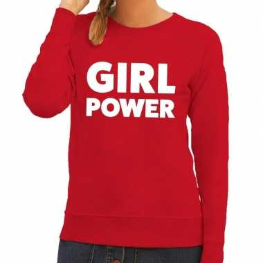 Toppers - girl power tekst sweater rood voor dames