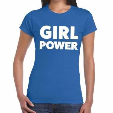 Toppers - girl power tekst t-shirt blauw dames